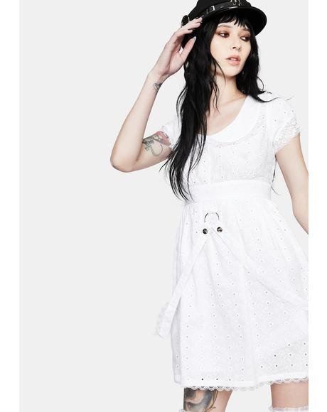White Embroidered Strap Mini Dress