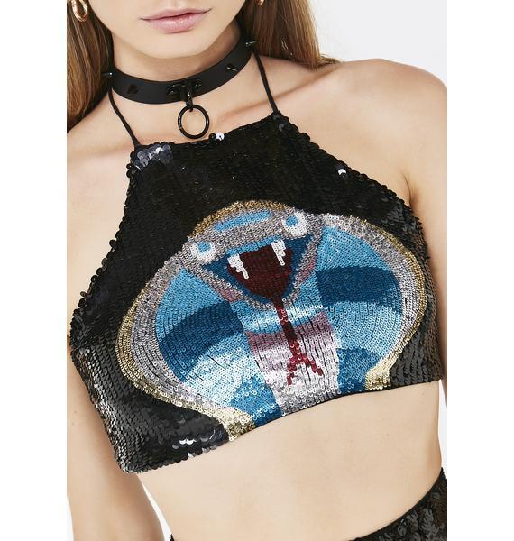 Club Exx Caspian Cobra Sequin Crop Top