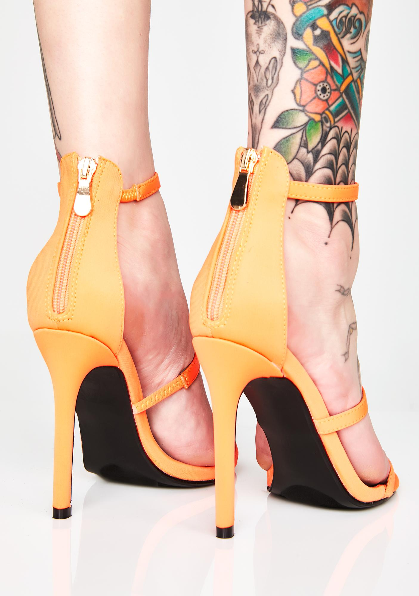 Flame Top Down Strappy Heels