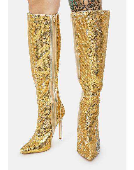 Red Carpet Walk Sequin Knee High Boots