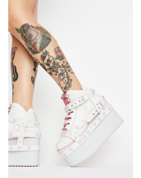 Qozmo Bondage Pink Heart Platform Sneakers