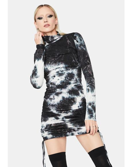 Night Next Level Vibe Tie Dye Ruched Mini Dress