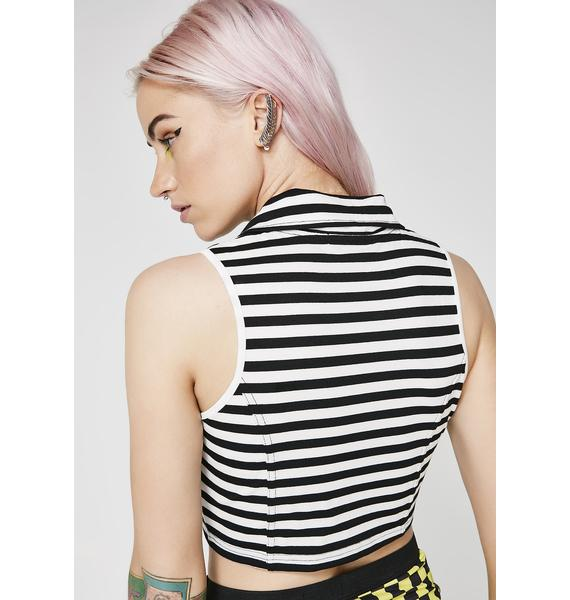 Current Mood Above The Law Stripe Crop Top