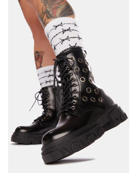 Bad To The Bone Grommet Combat Boots