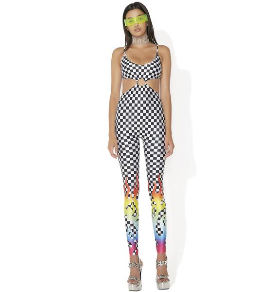 Jaded London Rainbow Flame Cut-Out Bodysuit