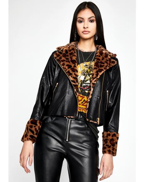 Furry Fiend Leopard Moto Jacket