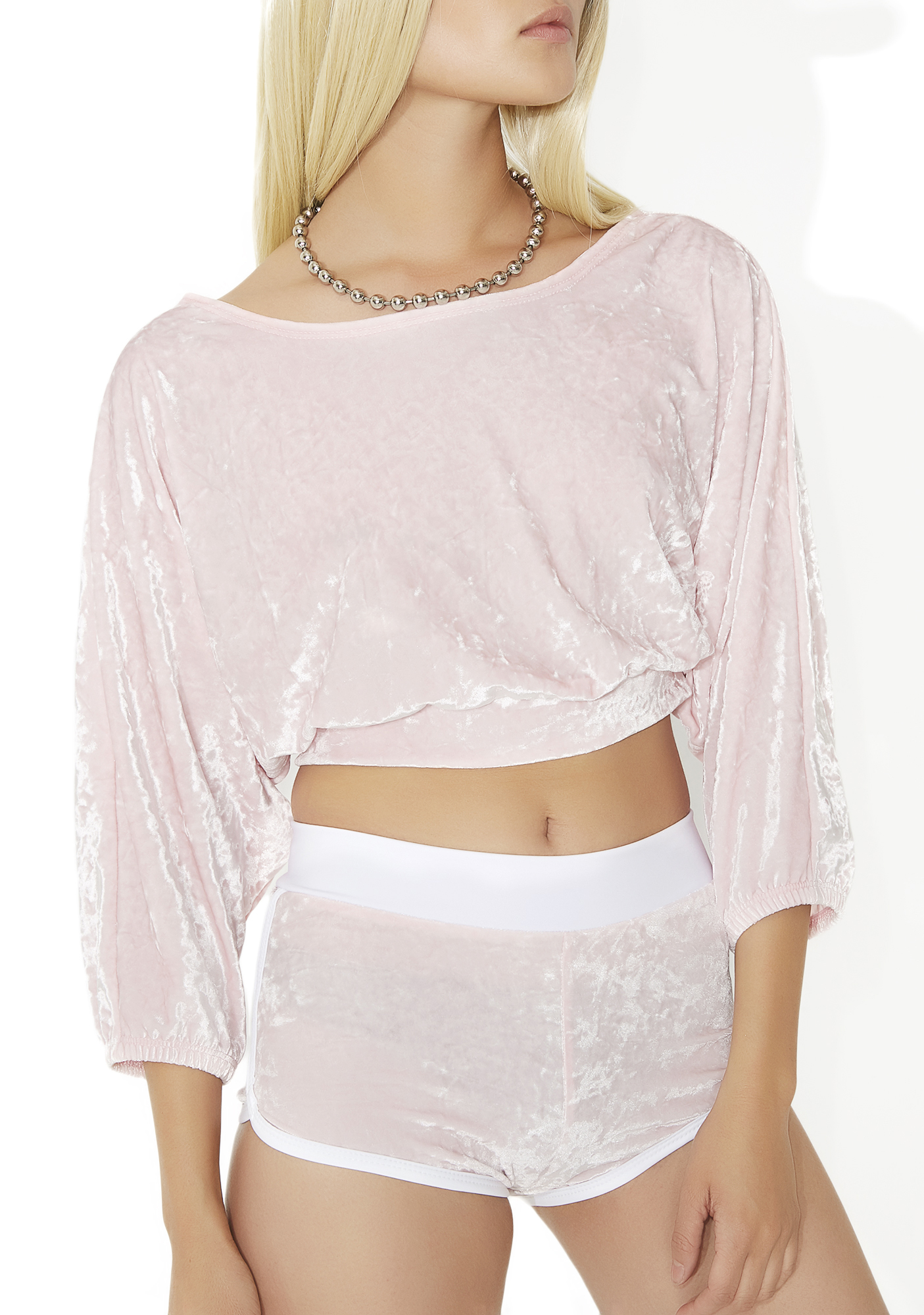 Pink Velvet Long Sleeve Crop Top
