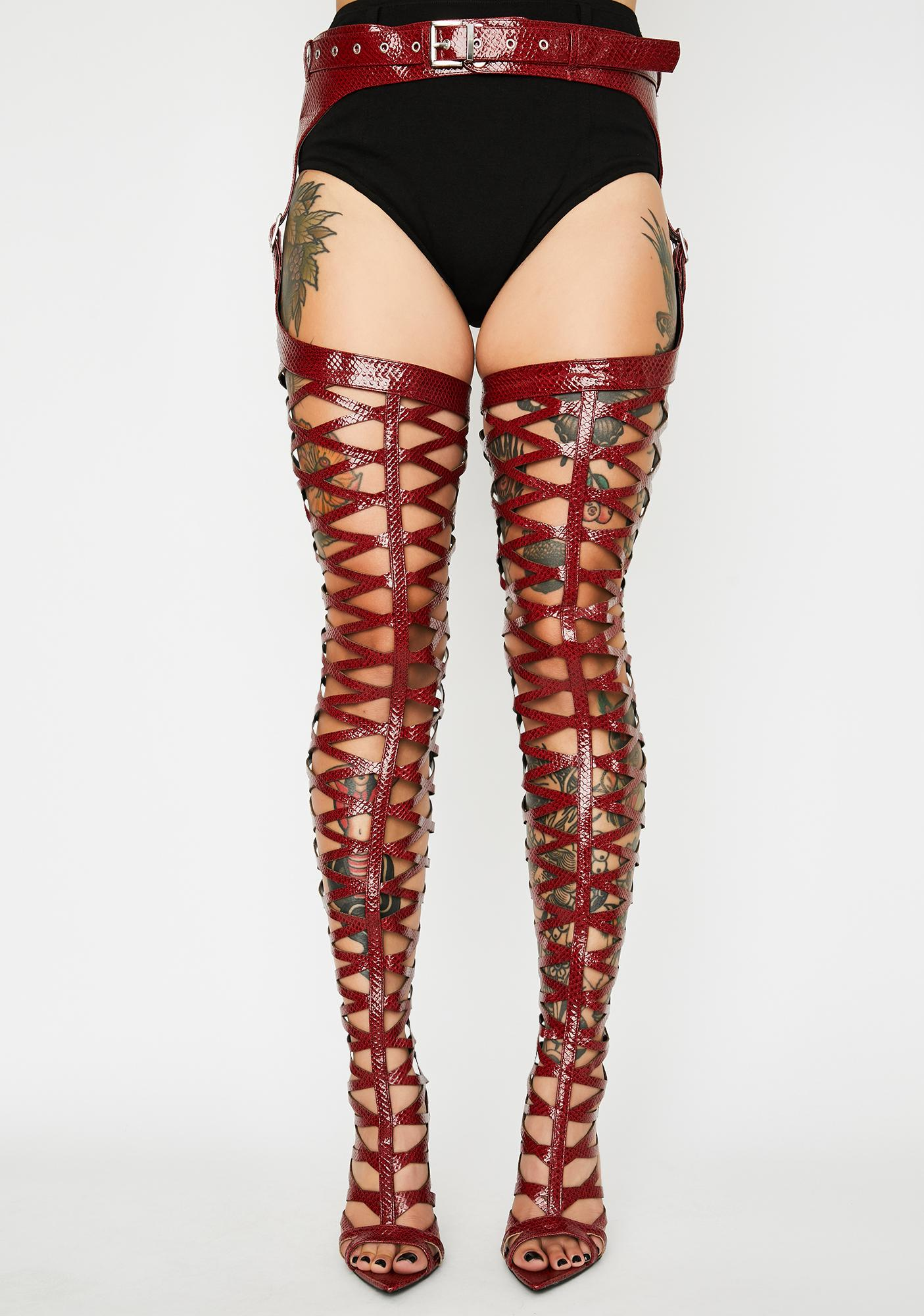 Hottie Left On Red Thigh High Boots