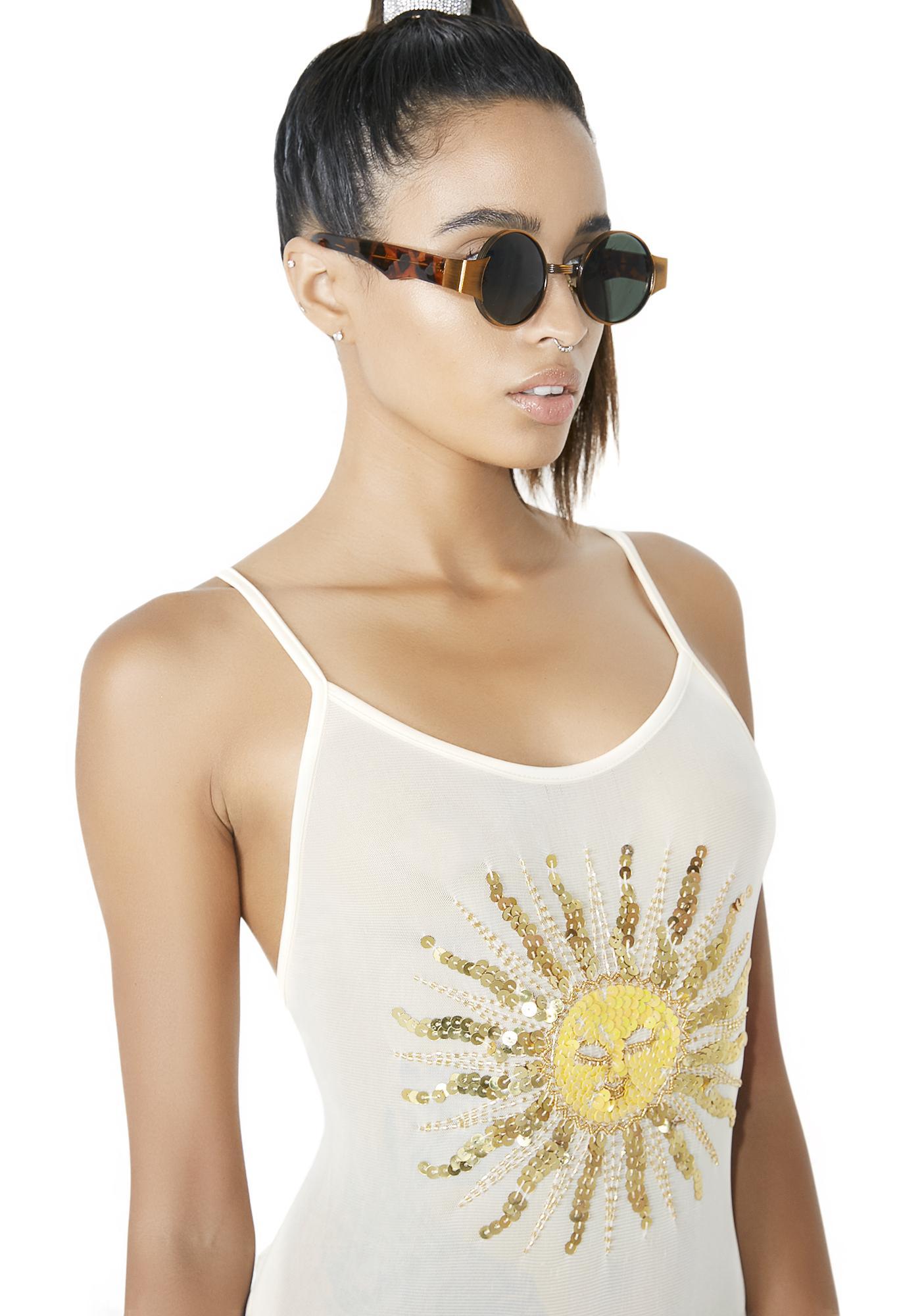 Her Pony Marlo Sheer Sequin Celestial Sun Bodysuit