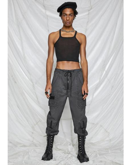 Synth Unisex Charcoal Washed Cargo Pants