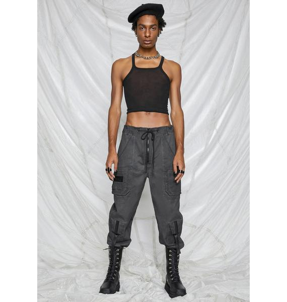 DARKER WAVS Synth Unisex Charcoal Washed Cargo Pants