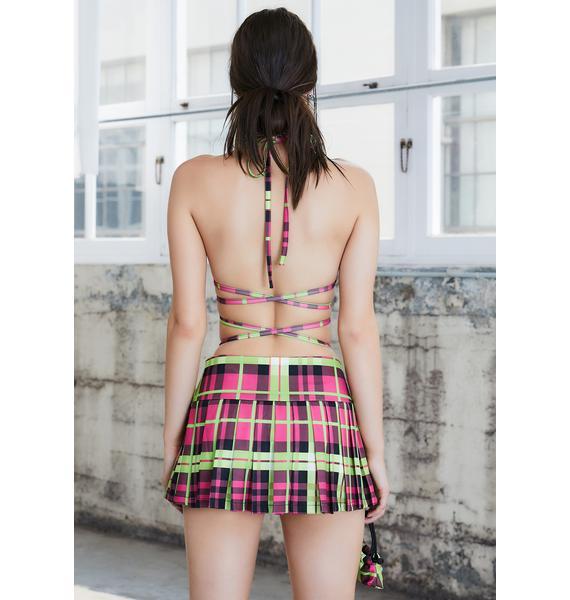 DARKER WAVS Kickdrum Pleated Plaid Mini Skirt