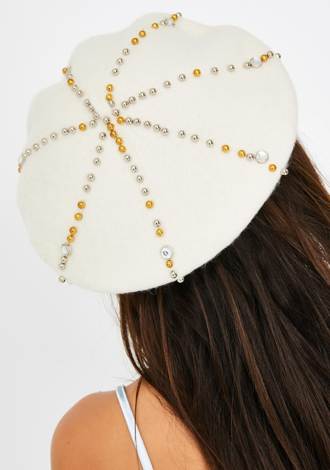 Ivory True Wish Jeweled Beret