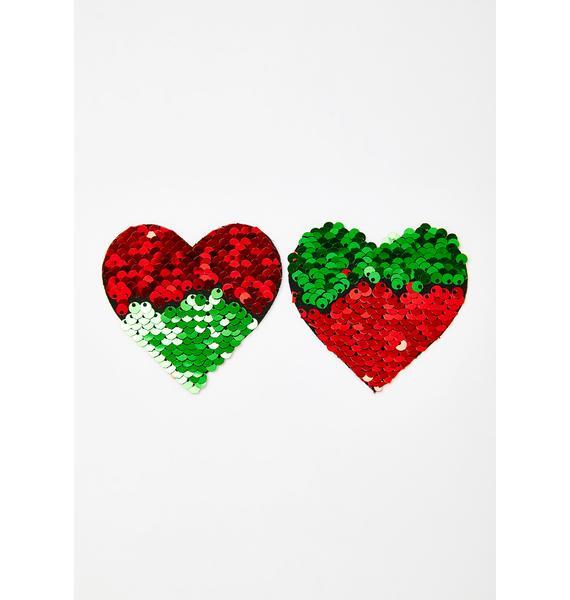 Neva Nude Holiday Hearts Sequin Pasties
