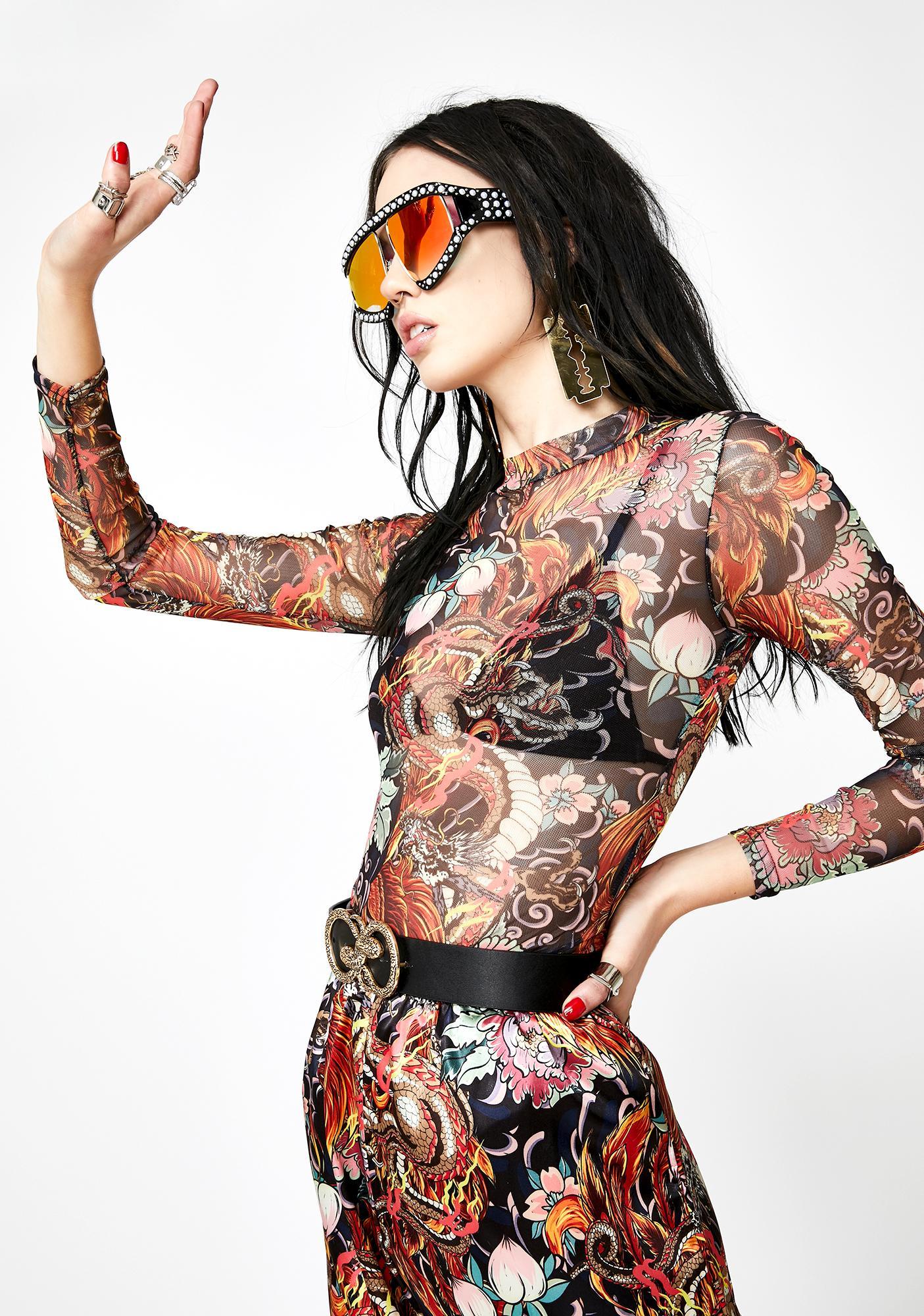 NEW GIRL ORDER Phoenix Print Mesh Bodysuit