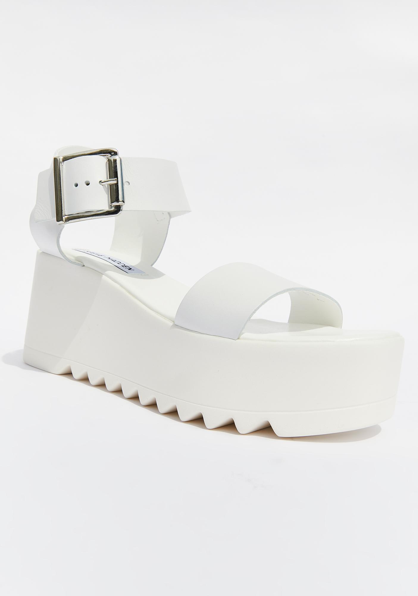 Steve Madden White Leather Lake Platform Sandals