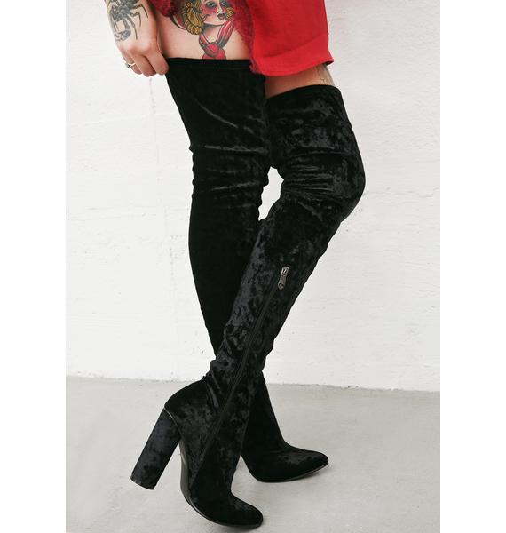 Midnight Planetary Thigh-High Boots