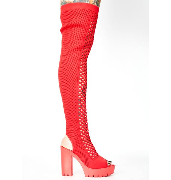 Maraschino Straight No Chaser Fishnet Boots