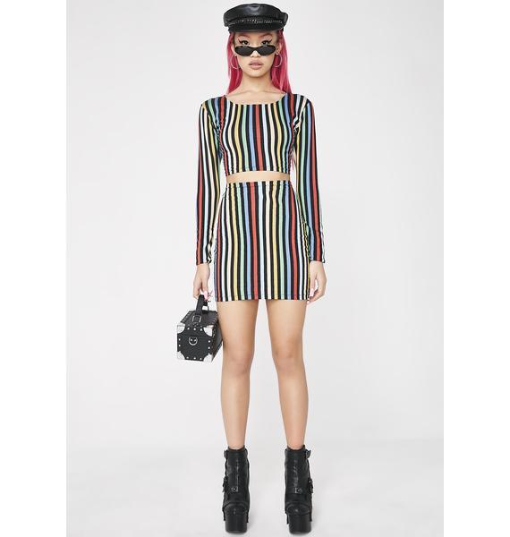 Motel Rainbow Stripe Kimmy Skirt