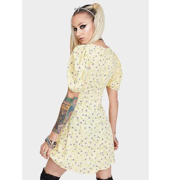Motel Lemon Drop Carie Floral Dress