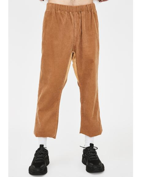 Beige Corduroy Easy Pants
