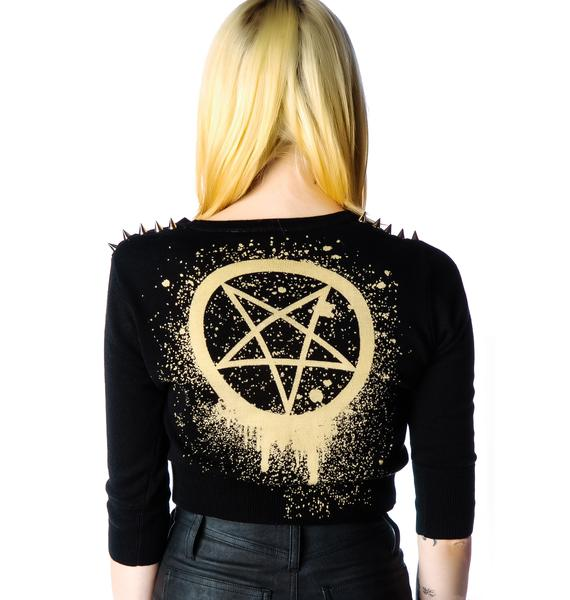 Too Fast Pentagram Studded Cropped Cardigan