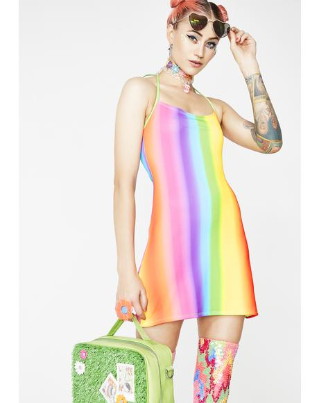 Rainbow Gradient Matte Dress