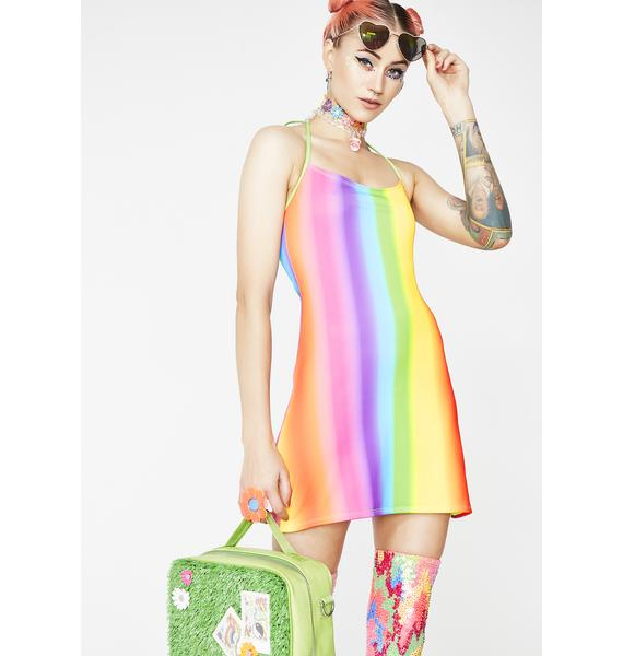 Rheabfunky Rainbow Gradient Matte Dress