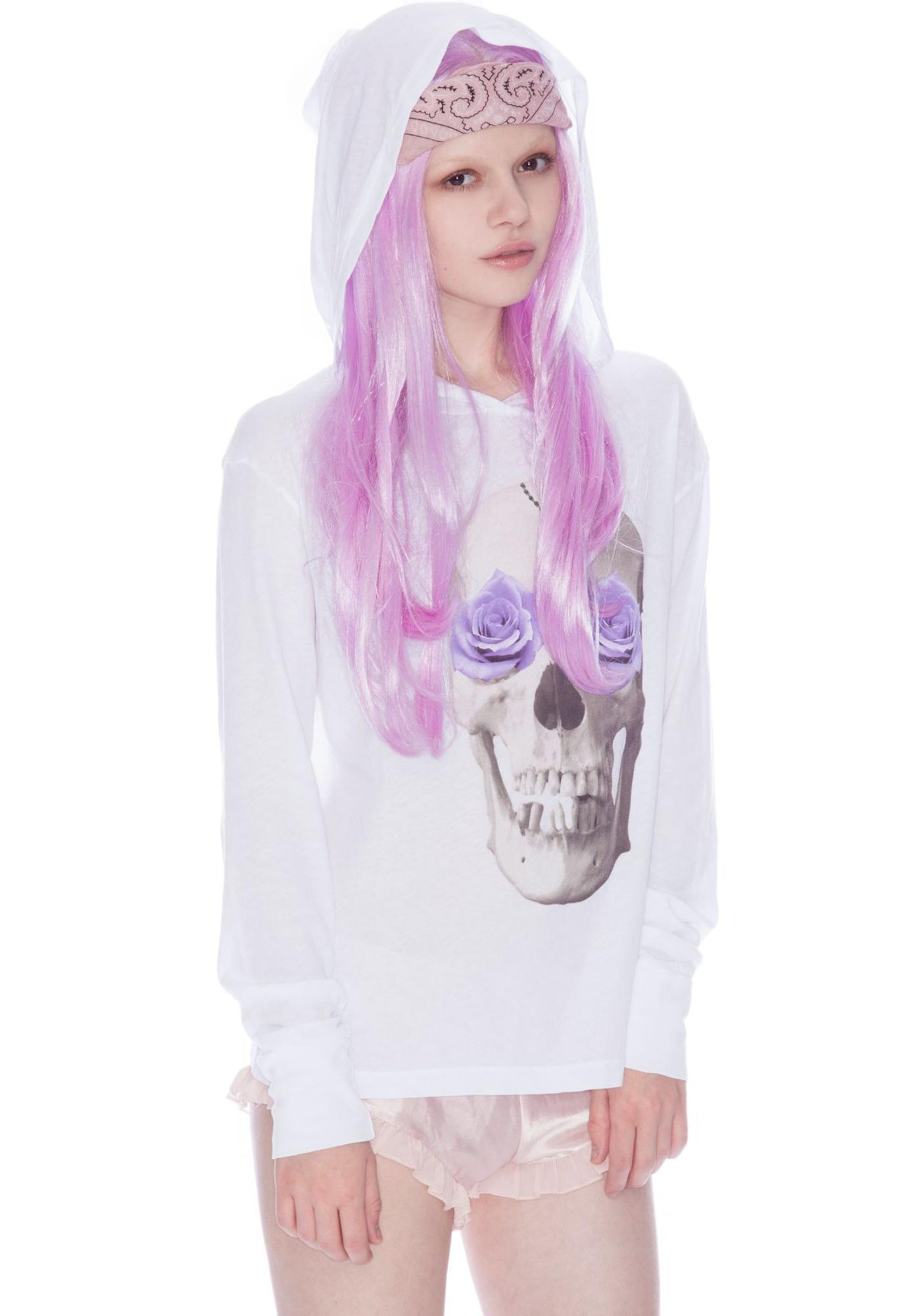 Wildfox Couture Skull and Roses Long Sleeve Hoodie