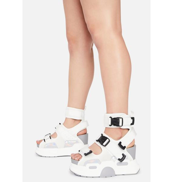 Anthony Wang White Holographic Mulberry Platform Sandals