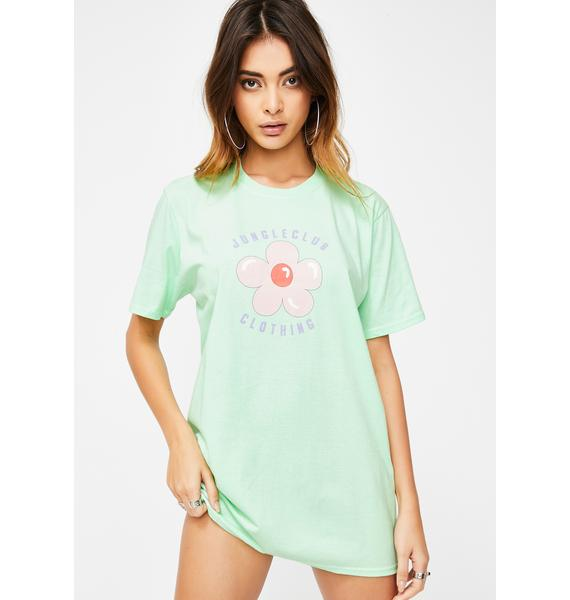 JUNGLECLUB CLOTHING Mint Flower Graphic Tee
