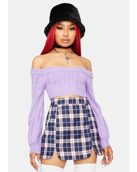 Lavender Takin' Cues Cable Knit Sweater