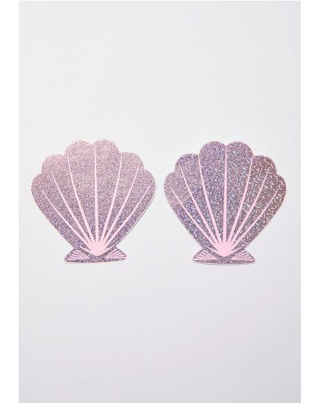 Pink Glitter Seashell Pasties