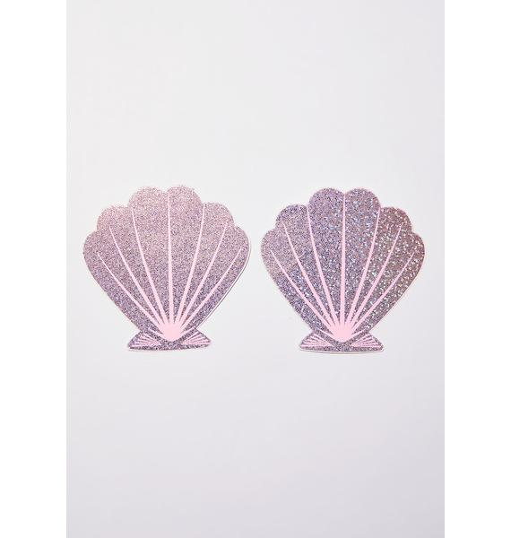 Pastease Pink Glitter Seashell Pasties