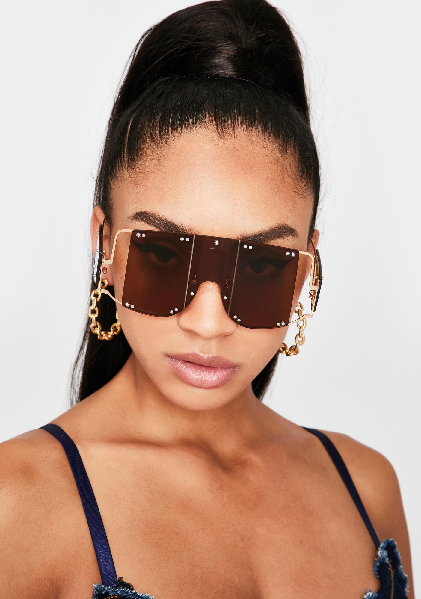 Mocha Club Clout Shield Sunglasses