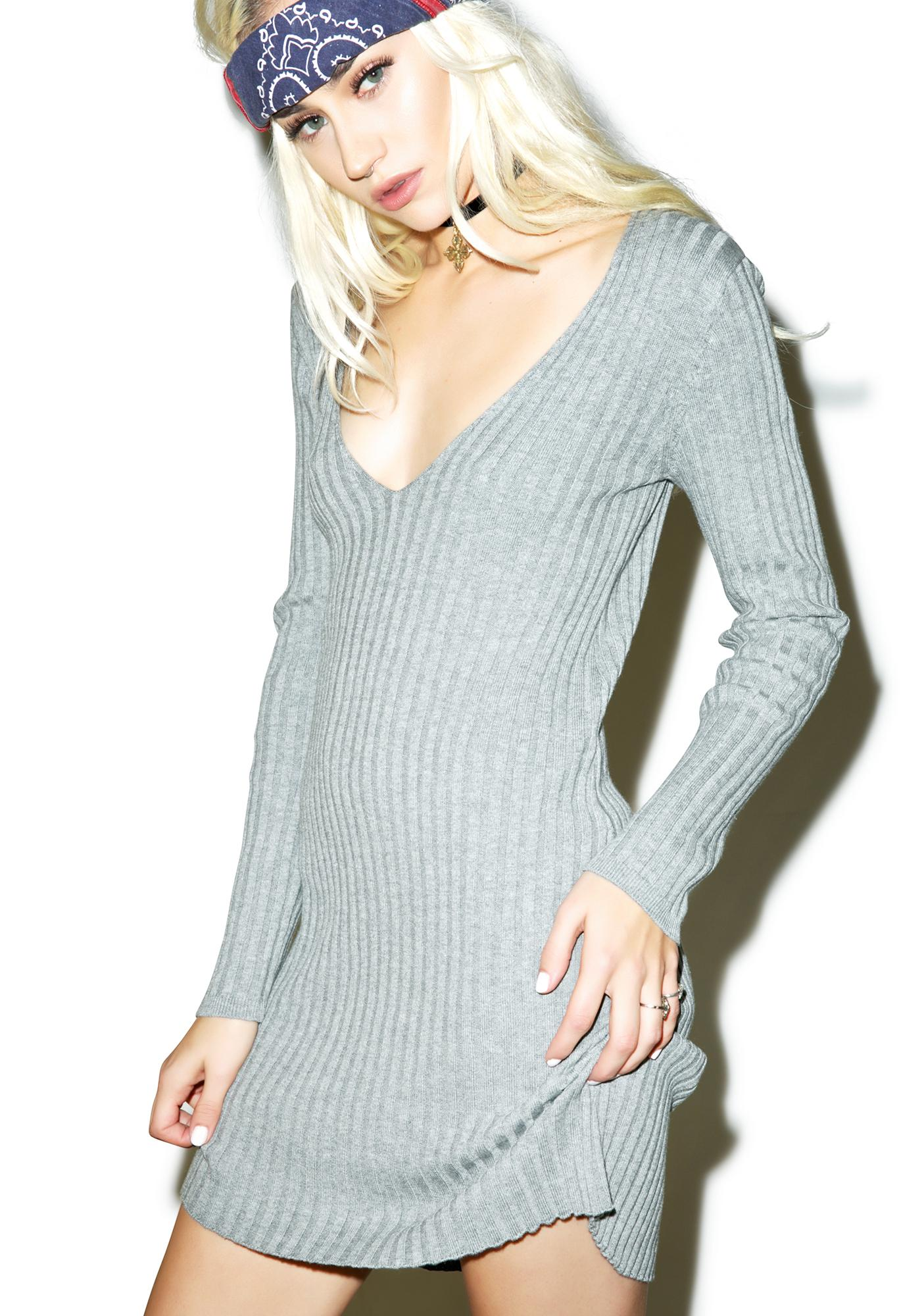 For Love & Lemons Everyday Knit V-Neck Dress