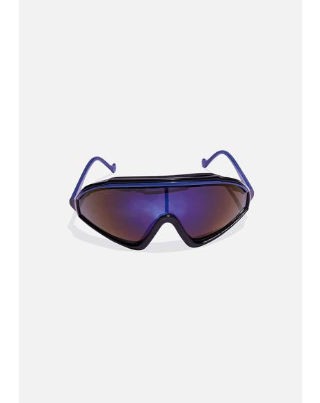 Blue Stripe Runner Sunglasses