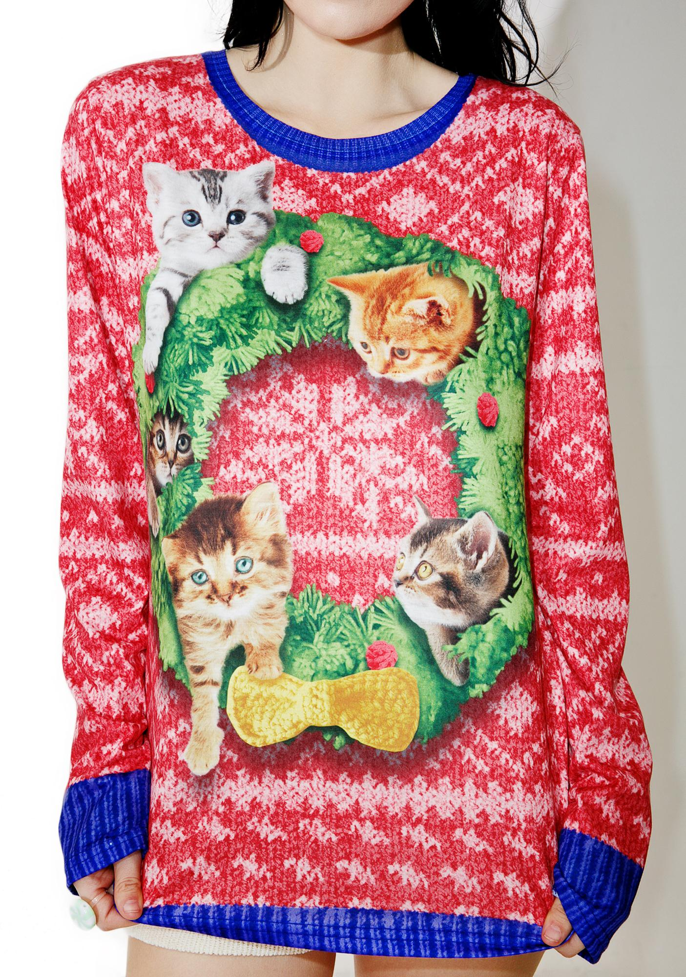 Kitten Wreath Long Sleeve Tee