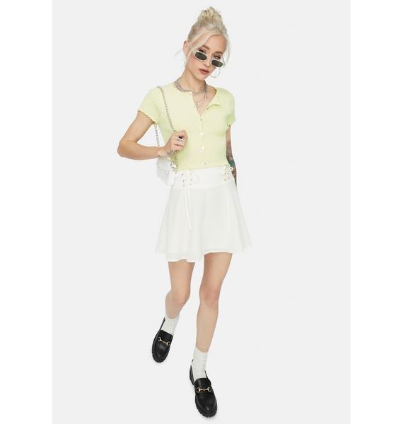 Lime Taking It Easy Button Up Crop Top