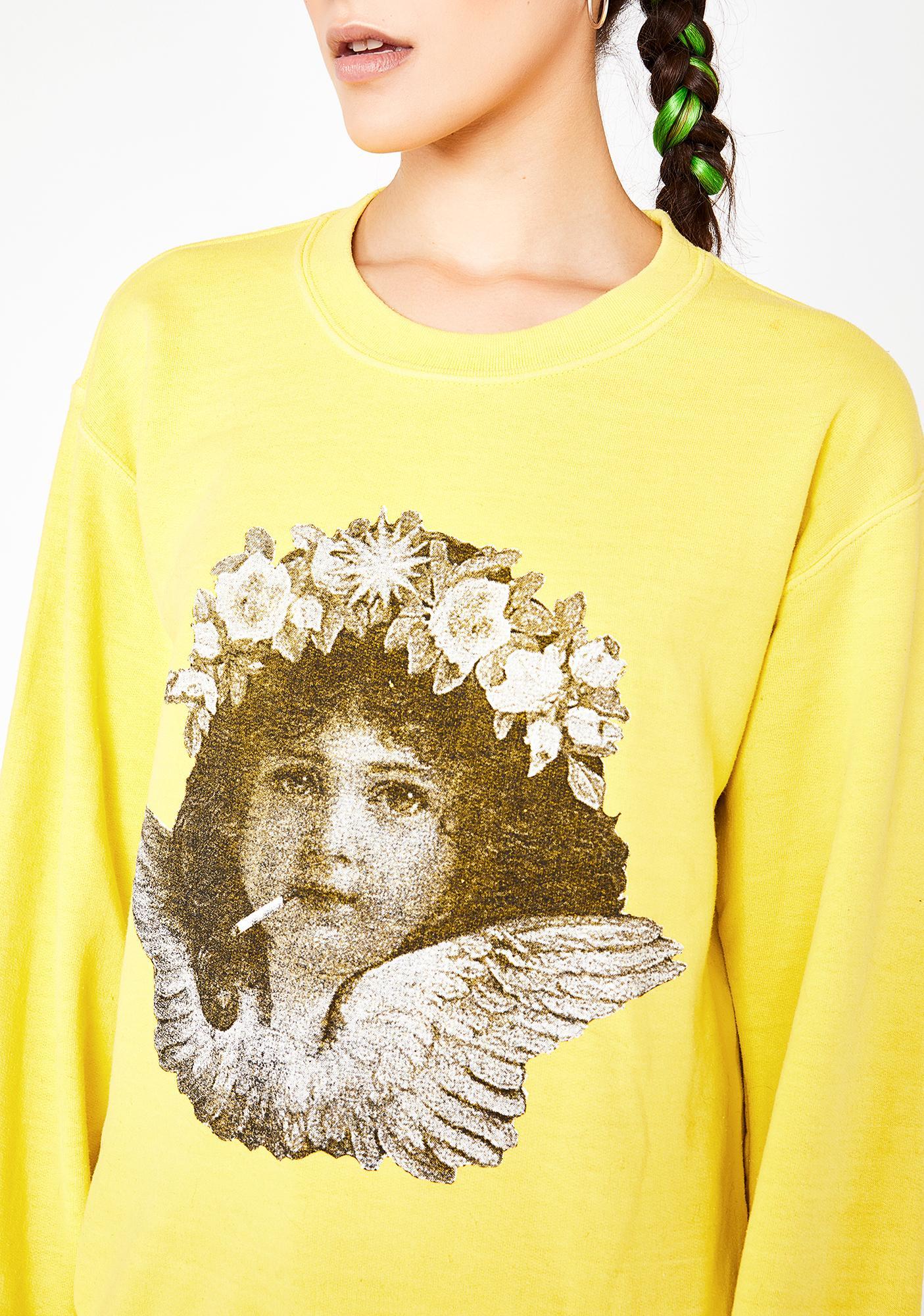 NEW GIRL ORDER Smoking Cherub Print Sweater