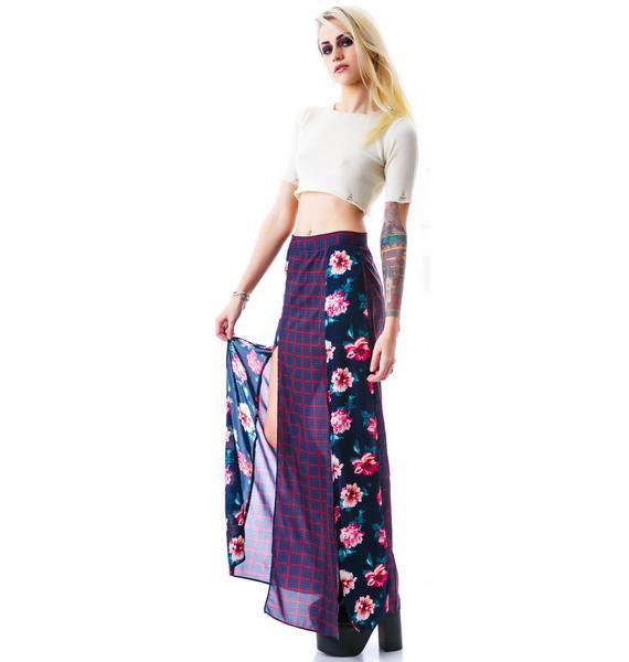 Peony Plaid Maxi Skirt