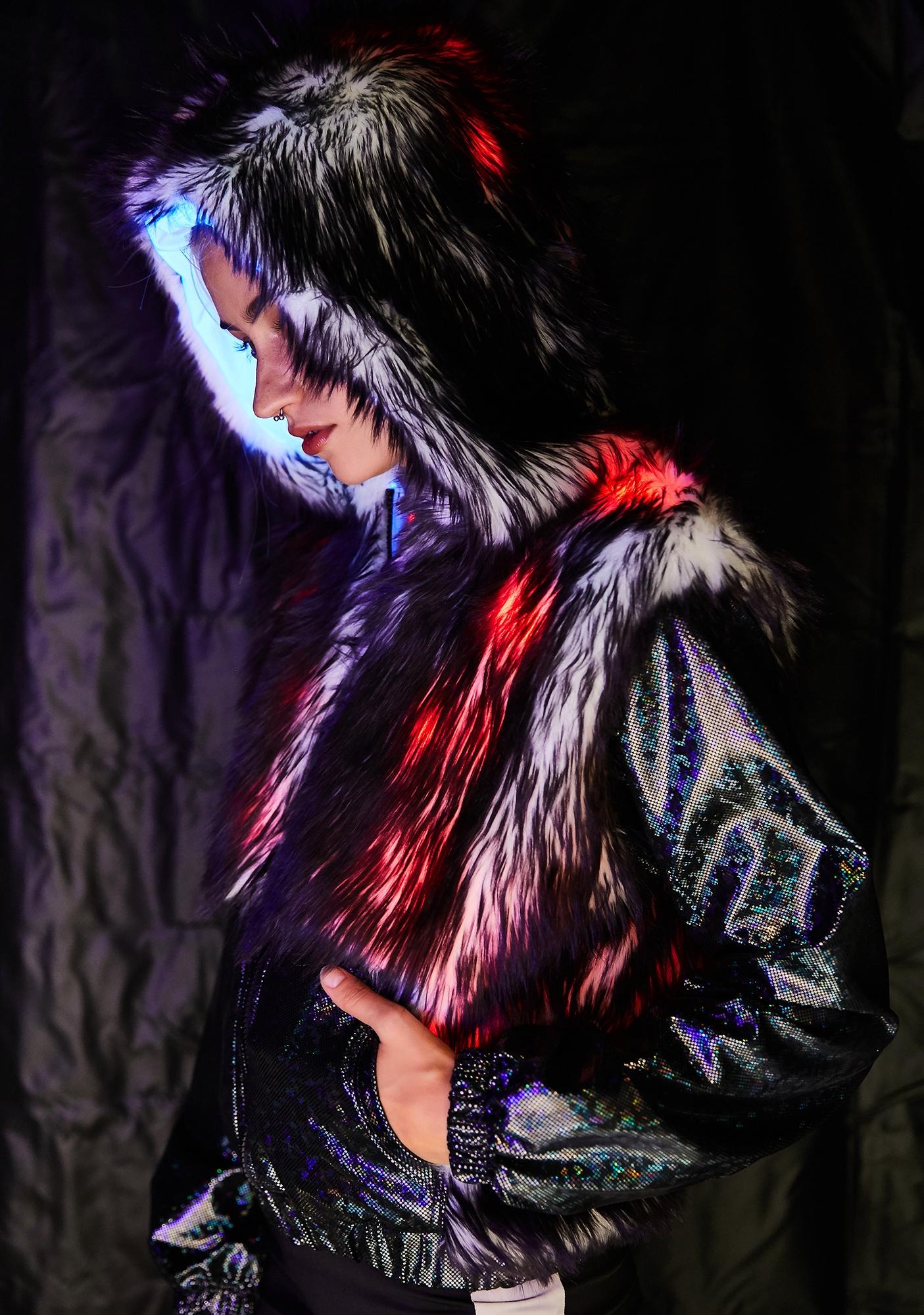 J Valentine Space Fuzz Light Up Hologram Jacket