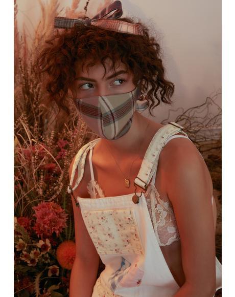 Beau Peep Plaid Face Mask And Scrunchie Set
