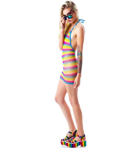 Taste The Rainbow Fishnet Mini Dress