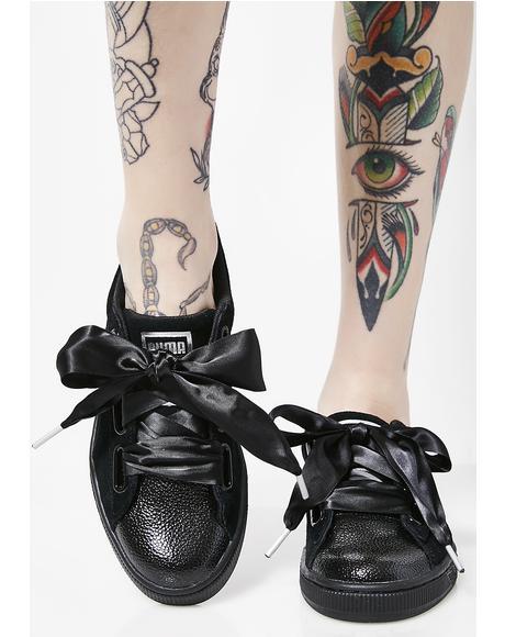 Suede Heart Bubble Sneakers