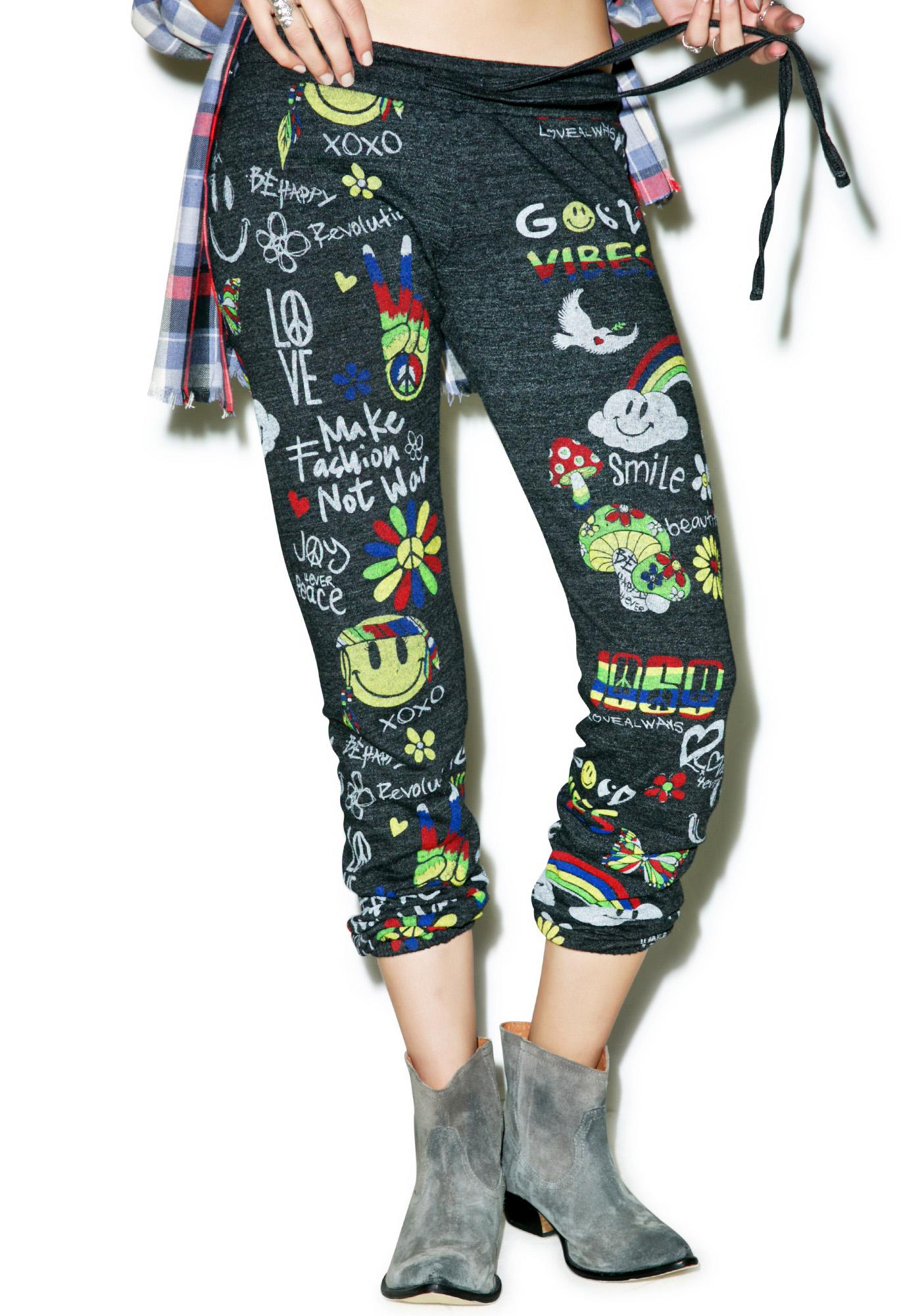 Lauren Moshi Tanzy Good Vibes Sweats in Black