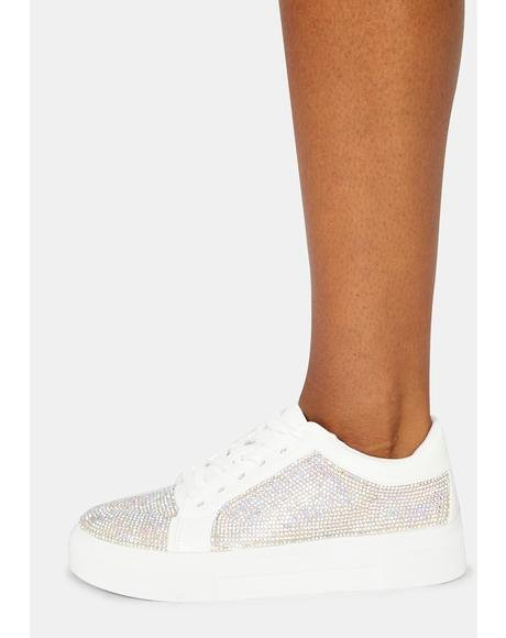 Preppy Polished Rhinestone Sneakers