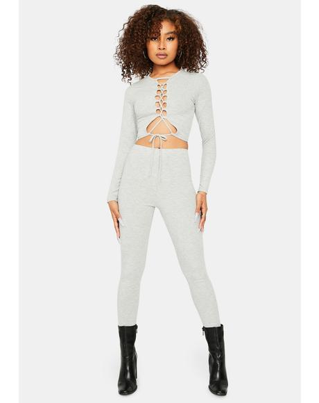 Here To Slay Lace-Up Top And Pant Set