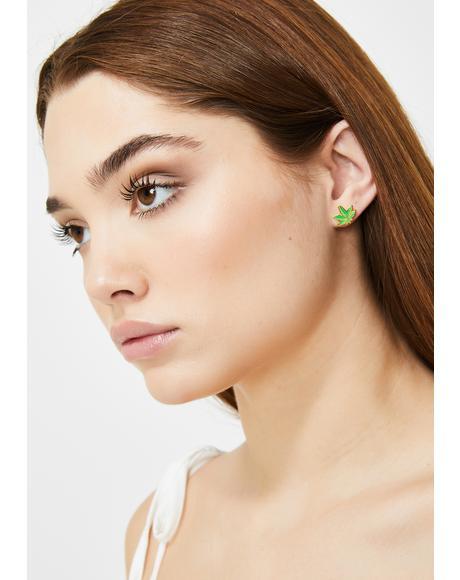Flower Gold Stud Earrings