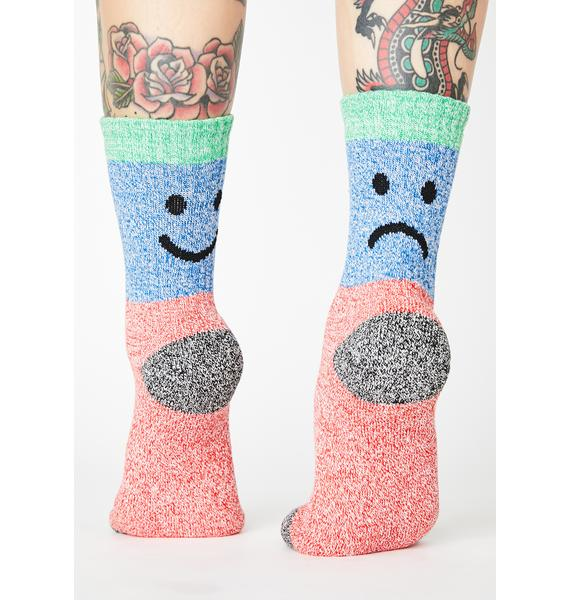 Lazy Oaf Happy Sad Twisted Yarn Socks